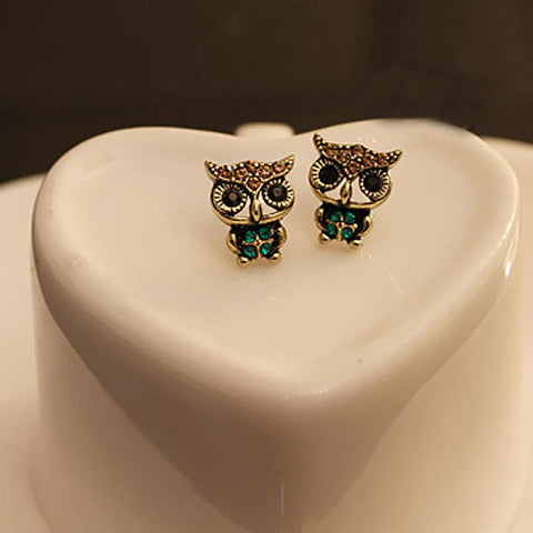 Essential 2016 New Fashion  Fashion Style Owl Rhinestone Cute Vintage Ear Stud Earrings 1 Pair Jul12
