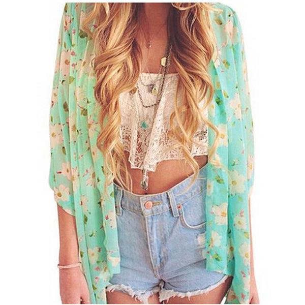 New Arrivals 2016 Women Blouses Plus Sizes Floral  Cardigan Women Tops Chiffon Batwing Blouse Kimono Cardigan Chemise Femme XXXL