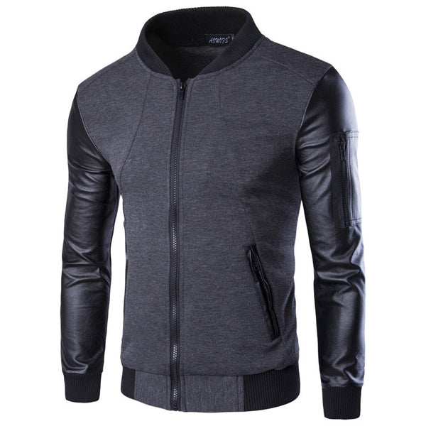 Men Hoodies Patchwork Leather Sleeve Fashion Hoodies Men Jacket Coat Brand Sweatshirt  Casual Suit Pullover Tracksuits Masculino