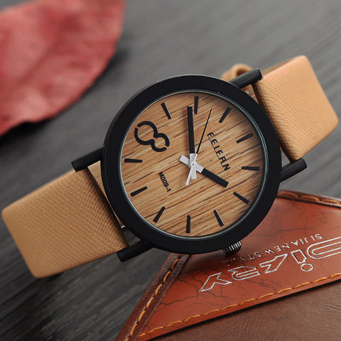 6 Colors Luxury Fashion Quartz Watches Men's Casual Wooden Color Leather Strap Watches Male Wood Wristwatch Relogio Masculino