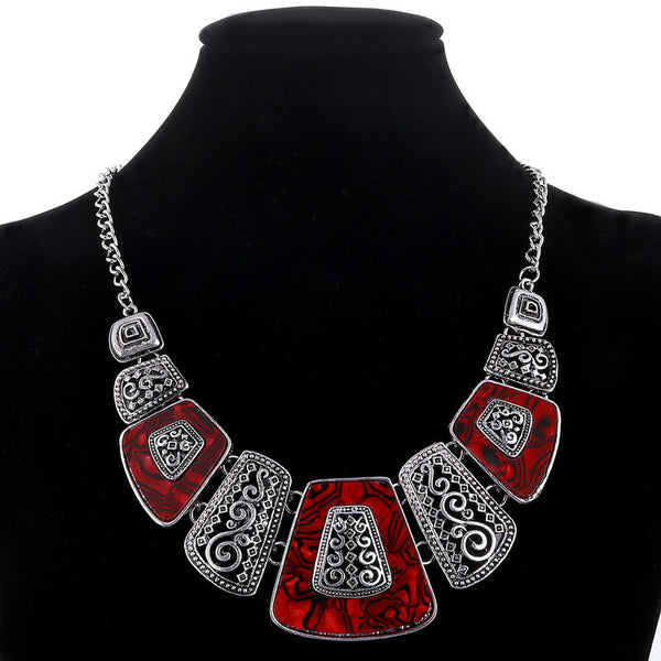 New Bohemian Choker Necklace Fashion Ethnic Collares Vintage Silver Plated Bead Pendant Statement Necklace For Women Jewelry