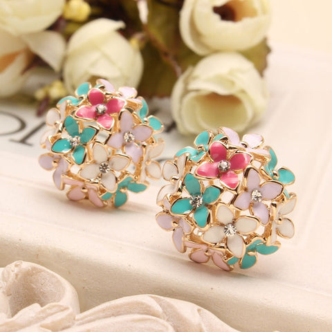Pink Blue Flower Four Leaf Stud Earrings  Clove Designer New 2015 Spring pendientes Brincos for Womens E2041
