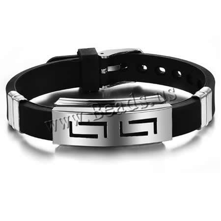 2016 charm Fashion Jewelry Silicone Rubber Silver Slippy Hollow Strip Grain Stainless Steel Men Bracelet Bangle Wristbands Black