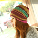 New Arrival 3 Use Hat Knitted Scarf & Winter Hats for Women Striped Beanies Hip-hot Skullies Girls Gorros Women Beanies j34-j37