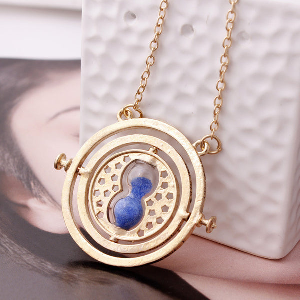 2016 Hot Selling Harry potter necklace time turner necklace hourglass Harry Potter Necklace Hermione Granger Rotating Spins