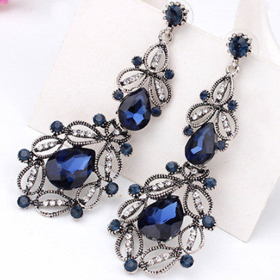 9 Colors Big Long Crystal Drop Earrings for Women Vintage Earrings Flower Bohemian Style Fine Jewelry Wedding Accessories E0093