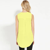 2016 Summer New Fashion Plus Size 6XL Sleeveless Solid V Neck Chiffon T Shirt Women Boyfriend Long Casual Tops Tshirt XXXXL 5XL