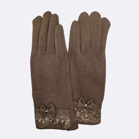 2016 Fashion PU Leather Lace Bow Women Winter Gloves Female Ladies Girls Touch Screen Mittens Sheep Wool Glove Mitten Guantes