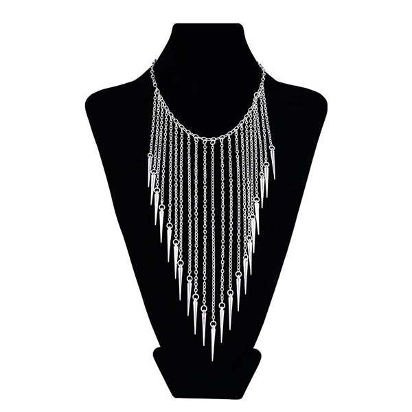 2016 New Collares Jewelry European Style Vintage Fashion Necklaces Rivet Long Tassel Punk Accessories Women Choker Necklace