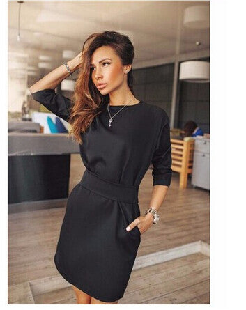 2016 women fall fashion casual mini dress broadcloth solid color short sleeve o-neck women dress two side pocket black dresses