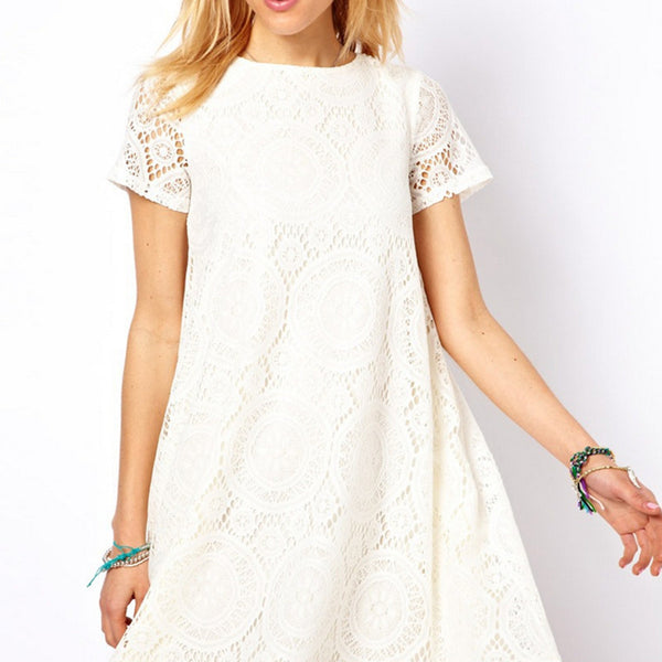 Fashion Female Summer Style A-Line Short Sleeves Dress Summer Women Hollow Out Lace Sexy Dress