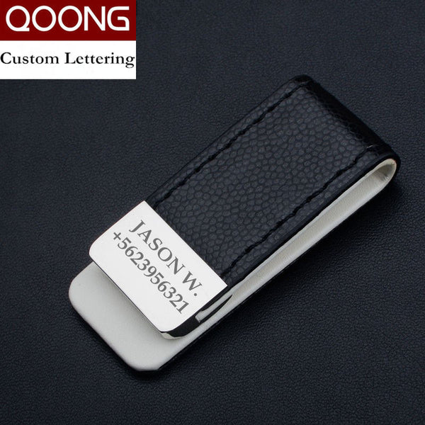 QOONG Men Women Leather Money Clip Wallet Slim Metal Money Holder Safe Wallet Bill Clip Clamp for Money Credit Cards ML1-046