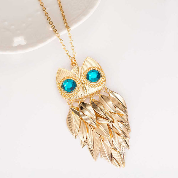 2016 New Fashionable Stylish Gold Leaves Owl Charm Chain Long Women Pendant Necklace
