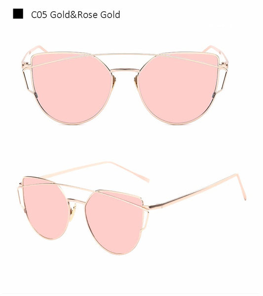 2016 New Cat Eye Sunglasses Women Vintage Fashion Rose Gold Mirror Sun Glasses Unique Flat Ladies Sunglasses Oculos UV400