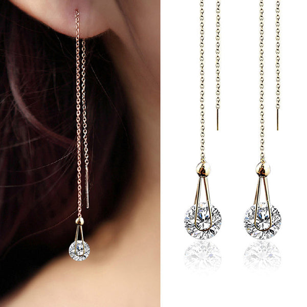Long crystal Earrings for women Rose Gold Plated Stud Earrings female Jewelry fashion CZ Diamond brincos party christmas gift