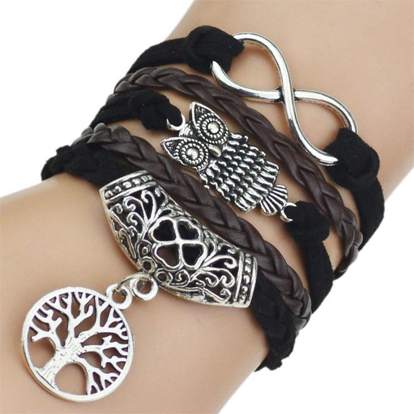7 Colors 2016 New Fashion Leather Bracelets & Bangles Silver Owl Tree Love Bracelets for Women Men Hot Sale Fashion Jewelry