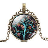 LIEBE ENGEL Life Tree Pendant Necklace Art Glass Cabochon Necklace Bronze Chain Vintage Choker Statement Necklace Women Jewelry