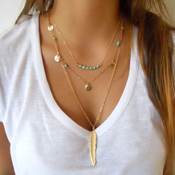DIY Jewelry New Fashion Turquoise Beads Glaze Necklaces feather 3 Layer Necklace multilayer Necklaces for women