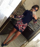 New Autumn Style Sheath Dresses Casual Ladies dress Women clothing elegant sexy fashion o-neck printed dresses