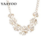 2016 New Fashion Imitation Pearl Rhinestone Flowers Leaves Metal Gold/Silver Plated Statement Necklace Women Jewelry For Gift