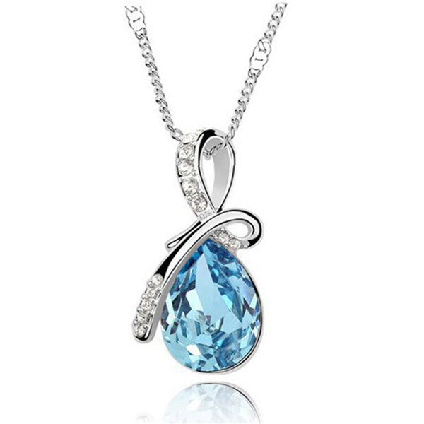 Fashion 10 Colors Austrian Crystal Water Drop Pendants&Necklaces 18K Gold Filled Chain Necklace Fine Jewelry For Women