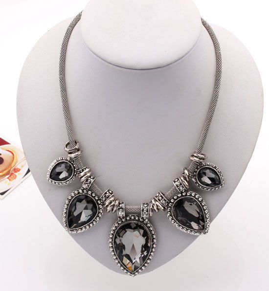 Hot New Fashion Necklace Brand Noble Link Choker Chain Statement Necklace Luxury Shining Charm Crystal Necklaces & Pendants