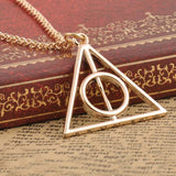 2016 New Hot Fashion triangle Deathly Hallows triangle metal pendant long chain necklace ace gifts, free shipping