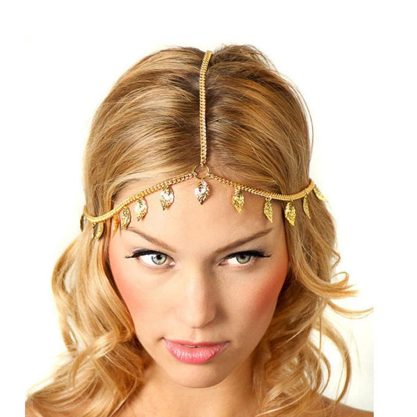 Lowest Price 2016 New Beach  Metal Gold Plated Head Chain Hair Jewelry Tassel Pearl Leaves Bindi hair accesories Boho Headband