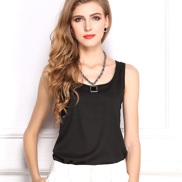 2016 New Fashion Tops Chiffon Shirts Plus Size Women blouse shirt Sleeveless Vest Chiffon Blusas Roupas Femininas Blusa Camisas