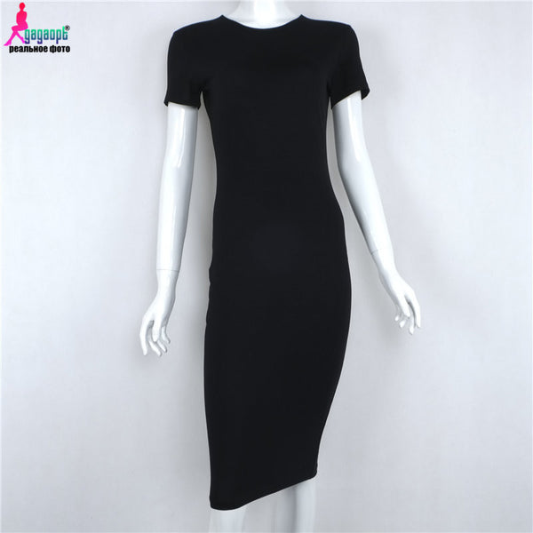Gagaopt 2016 Brand Women Dress Black Office Robe Sexy Party Cotton Long Sleeve Midi Bodycon Casual Basic Dress Vestidos D0746