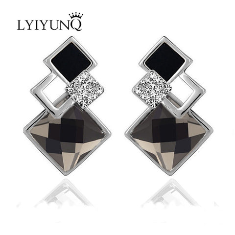 2016 Famous Brand New Fashion Brincos Gold Plated Jewelry Earring Big Blue Crytal Square Stud Earrings For Women