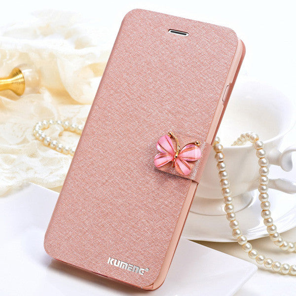 Luxury Fashion Butterfly Built-in Card slot Silk Pattern Stand Flip Leather Mobile Phone Case for iPhone 7 6 6S Plus