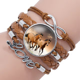 Antique Silver Infinity Alloy Cuff Charm Leather Bracelet Bangle With Horse For Women Kids Multilayer Love Bracelets Jewelry