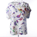 2016 new Large size women printing blouse bird bat shirt short-sleeved chiffon blusas femininas roupas summer style