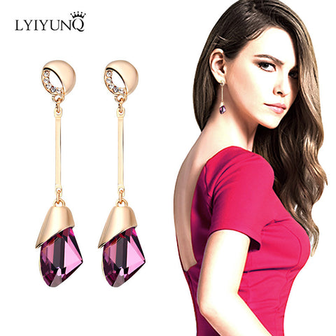 2016 High Quality Austrian Crystal Pending Dangling Earrings For Women Long Earring Fine Jewelry Brincos