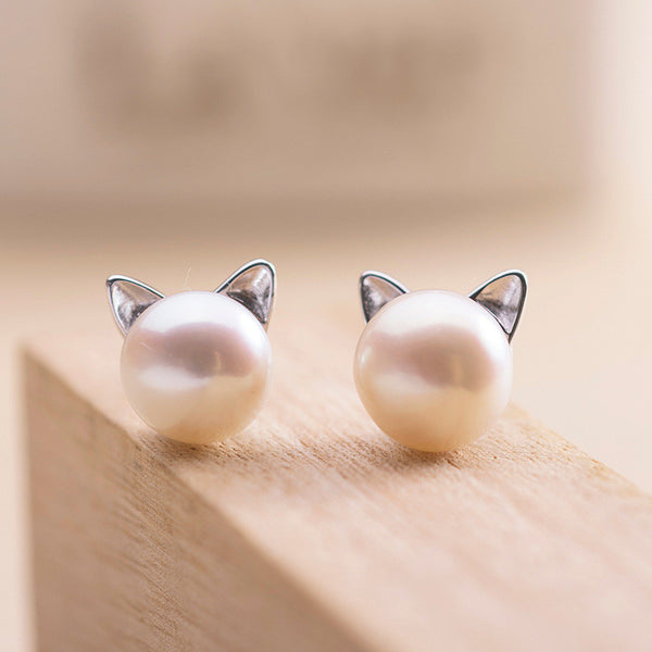 Newest 925 Sterling Silver Imitation Pearl Cat Stud Earrings Jewelry For Women Girl Pendientes Plata Brincos
