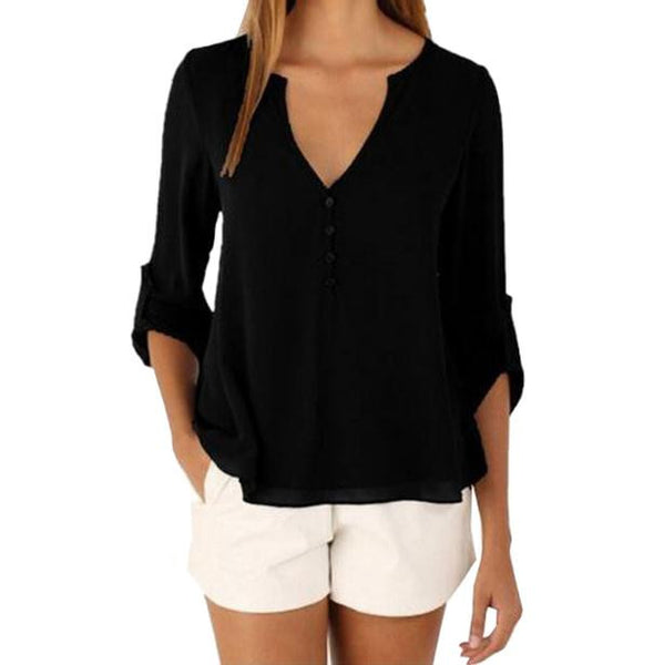 Women 2016 New Summer Casual Chiffon Blouses Sexy V Neck Long Sleeve Shirts Ladies Plus Size Tops feminina camisas 1WBL110