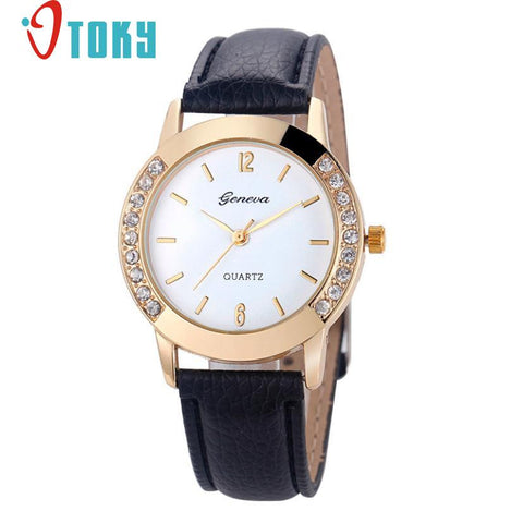 Hot Hothot Sales Women Diamond Analog Leather Quartz Wrist Watch Watches,business,Classic,simple,Girl,round,luxury, jy28