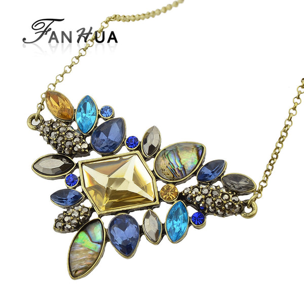 Fashion Colorful Rhinestone Necklaces Pendants Boho Flower Maxi Statement Necklace Antique Gold Plated Vintage Pendant Necklace