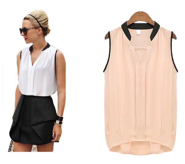 Summer Casual Chiffon Patchwork Blouse Women White Pink Blusas V-neck Sleeveless Shirts Female Tops Plus Size High Quality
