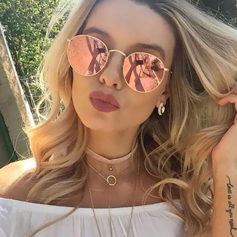 Luxury Brand Design Round Aviator Sunglasses Women Retro Brand Sun Glasses For Women Female Lady Sunglass Driving Mirror Glasses