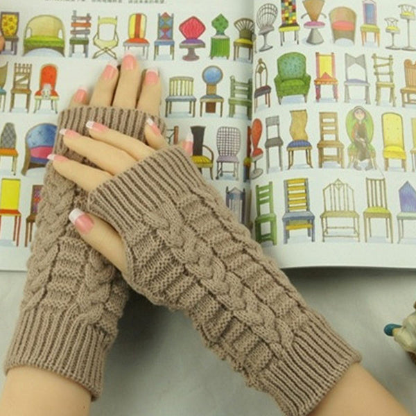 Women Winter Hand Arm Crochet Cable Knitting Gloves Mittens Warm Knitted Fingerless Wrist Gloves for Girls 957883