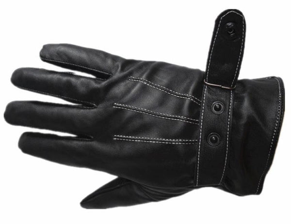 Hot Men's Luxurious PU Leather Winter Super Driving Warm Gloves Cashmere tactical gloves Black Drop Shipping High Quality S14