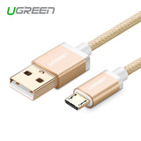 Ugreen 5V2A Micro USB Cable Metal Nylon Braided Wire USB Charger Sync Data Cable for Samsung Galaxy Xiaomi HTC Sony Cell Phones