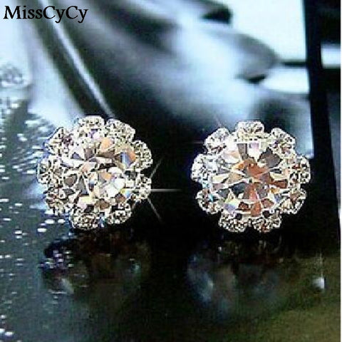 2016 Brand New FASHION Spherical Crystal Flower Stud Earrings For Women earings fashion jewelry