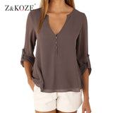 Owlprincess New Autumn Fashion Women deep v neck button long sleeve ladies tops chiffon shirts solid elegant Top casual blouse