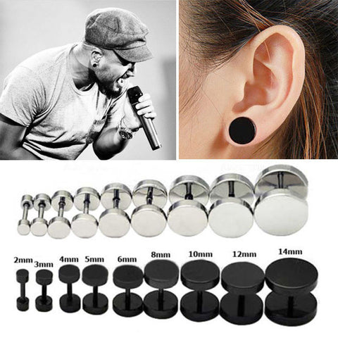 Hot Fashion Black Silver Men's Barbel Punk Gothic Stud Earrings Fashion Brand 7Sizes Stainless Steel Earrings For Men 1Pair