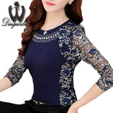 Hollow out Patchwork lace Tops Plus size Casual Beaded Women blouse Long sleeve shirt Blusa Autumn Spring Floral lace Clothing