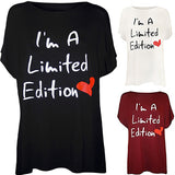 Fashion Ladies' Stylish Letter Print  I Am A Limited Edition Short Sleeve Shirts Casual Tops Blusas