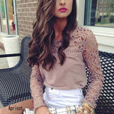 Hot Women Autumn Winter Classic Career Chiffon Blouse Lace Sleeve Shirt Hollow Out Tops S-XL